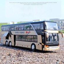 1:32 yüksek simülasyon çift gezi otobüsü Model oyuncak arabalar alaşım yanıp sönen ses araç oyuncaklar çocuklar için çocuk doğum günü hediyeleri