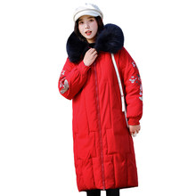 Mode Plus Size 5XL Vrouwen Winter Down Jacket 2019 Borduren Dames Lange Jas Winter Parka Hooded Warm Uitloper Vrouwelijke Parka(China)