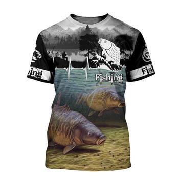 Carp lifeline grey fishing T shirt all over print
