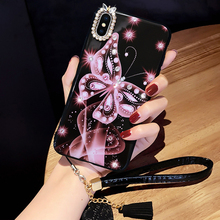 For iphone X 6 7 8 Case Fundas 6s s XS Max XR Plus Cover Butterfly Diamond White Red Pink Phone