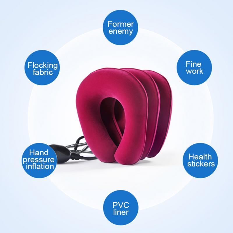 3 Layers Inflatable Neck Traction Collar Soft Cervical Stretching Device Air Cervical Pillow for Neck&Shoulder Pain Relief Brace(China)
