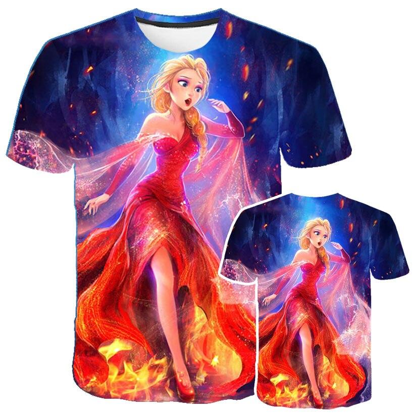 New Movie Frozen 2 Harajuku Tshirt  Boys Girls T Shirts Fashion Summer Tops Tee Shirts Elsa Olaf Camisetas Football Shirt