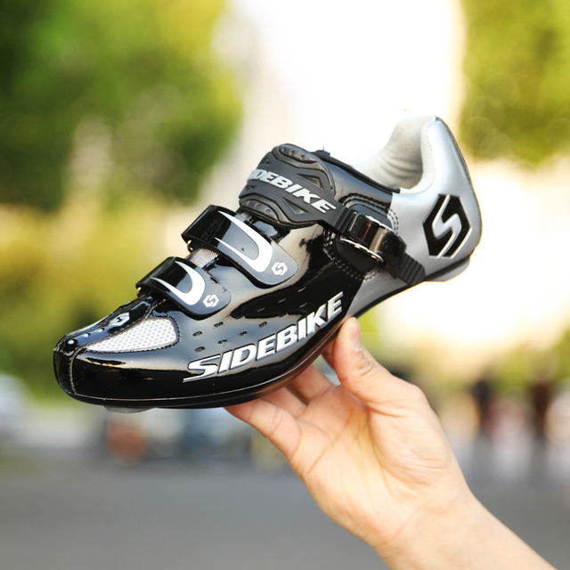 Sidebike calçado de ciclismo de estrada masculino, sapato de bicicleta de corrida automática com fecho para atletismo e ultraleve, preto 4