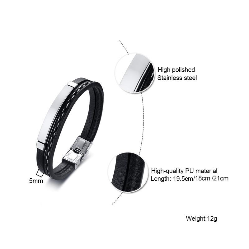 Bracelets en cuir véritable barre en acier 5
