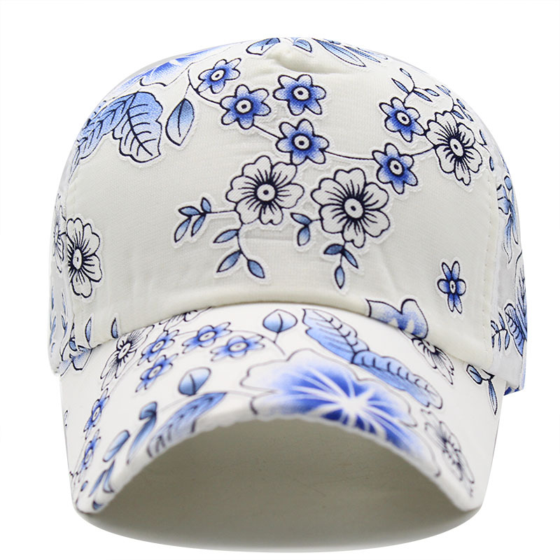 2020 Flower print Women's Baseball Cap Embroidery Flower Girls Snapback Hats Woman Female Cap Mesh Summer Sun Hat 4