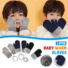 1PC rękawiczki dwuwarstwowe miękkie zimowe rękawiczki wygodne dziecięce rękawiczki 1-4 letnie rękawiczki guantes dziecięce rękawiczki noworodka akcesoria tanie tanio CN (pochodzenie) Poliester Knitting Stałe Unisex Gloves 14 X7cm