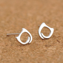 Silver 925 Jewelry Earrings Hollow Cat Stud Lovely Style Popular Sterling For Women