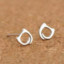 Silver 925 Jewelry Earrings Hollow Cat Silver Stud Earrings Lovely Cat Style Earrings Popular Sterling Silver Earrings For Women rhinestone cat design hollow stud earrings