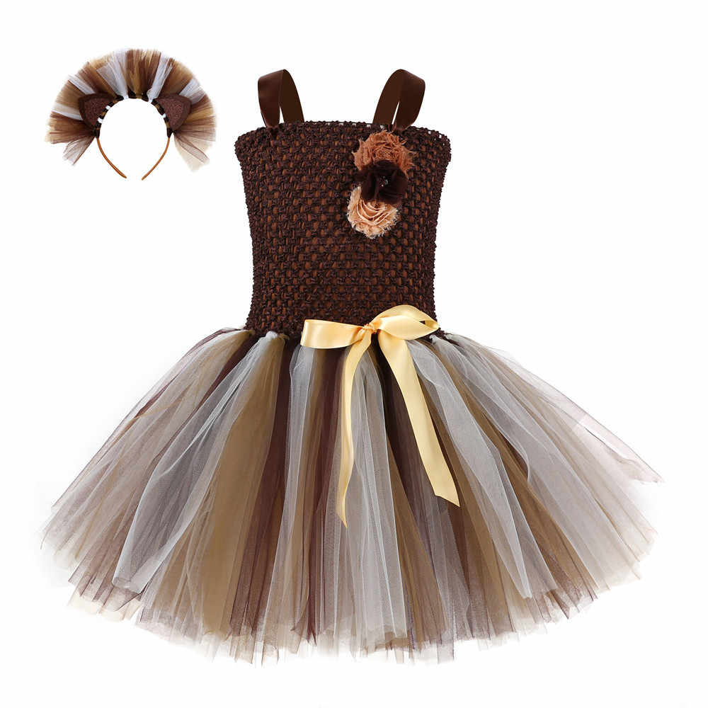 Halloween Carnival Lion Party Tutu Dress With Headband Kids Girls Animal Theme Birthday Cosplay Costume Cloth For School Perform