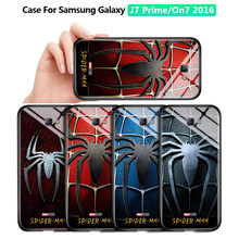 Untuk Samsung Galaxy J7 Prime On7 2016 Marvel Spiderman Spider Logo Case Tahan Guncangan Lembut Kaca Tempered Back Cover Casing(China)