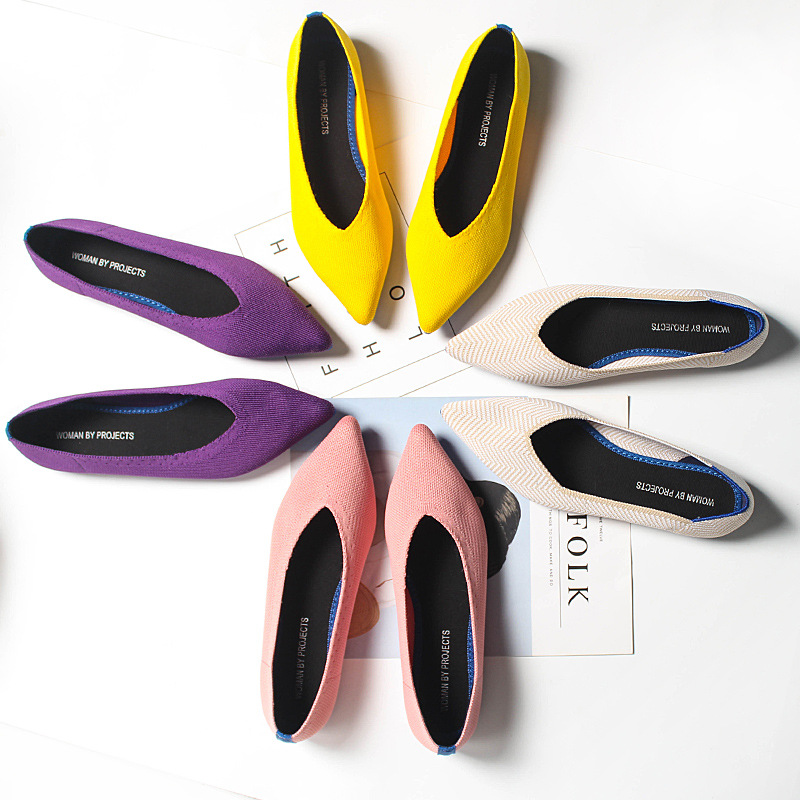 Loafers Flats Tenis Ballerine Pointed-Toe Black Femme Casual Women Ladies Autumn Feminino