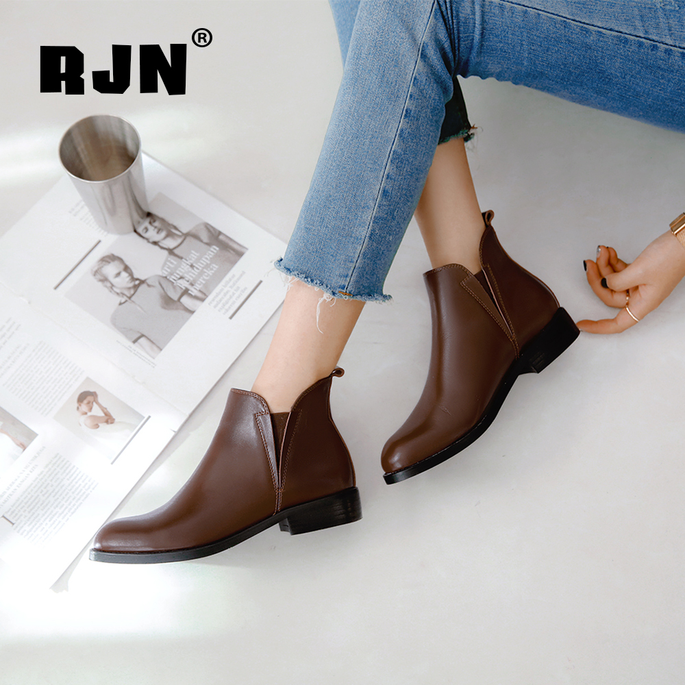 Cheap RJN Brand Ankle Boots Solid High Quality Genuine Leather Shoes Comfortable Round Toe Square Heel Slip-On Women Winter Boots RO44