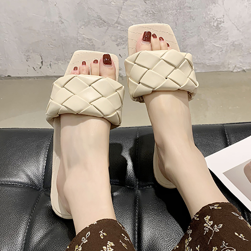 Women Slippers Sandals Summer 2020 Fashion Square Toe Weave Leather Slides Flat Sandal Casual Flip Flops Outdoor Beach Shoes