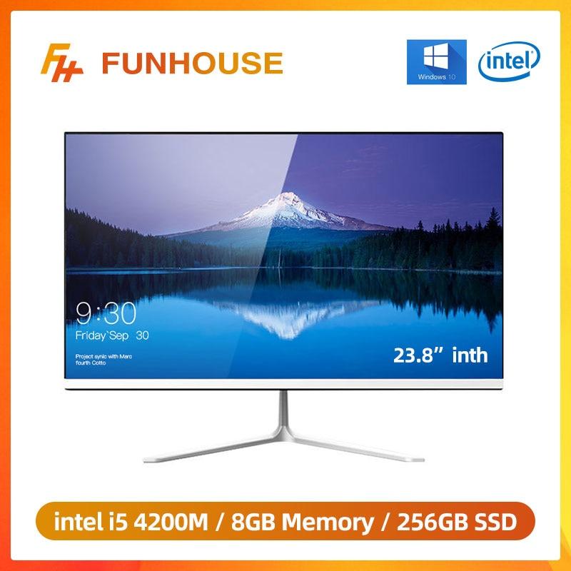 Funhouse 23.8 inç ofis masaüstü All-In-One PC/1080P Intel çekirdek I5 4200M 8G RAM 256G SSD ROM Intel HD grafik 4600 AIO Set