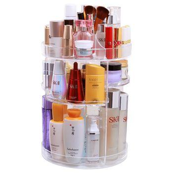 360 Degree Rotation Make Up Organizer Box Cosmetic Organizer Transparent Fashion Spin Multi-Function Detachable Acrylic