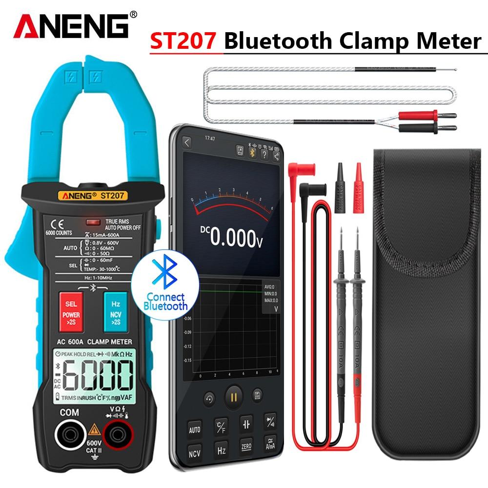 ANENG ST207 Digital Bluetooth Multimeter Clamp Meter 6000 Count True RMS  DC AC Voltage Tester AC Current Hz Capacitance Ohm