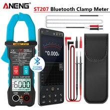 Aneng st207 digital bluetooth multímetro braçadeira medidor 6000 contagem rms verdadeiro dc/ac tensão tester ac corrente hz capacitância ohm