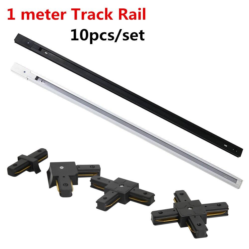 10 Pcs Led Track Rail Track Armatuur Aluminium 1 Meter 2 Wire Connector Systeem Tracks Armatuur 1 M Zwart wit Universele Rails