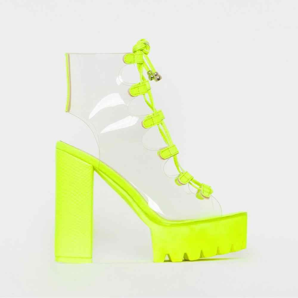 Neon Green PVC Jelly Sandals Open Toe