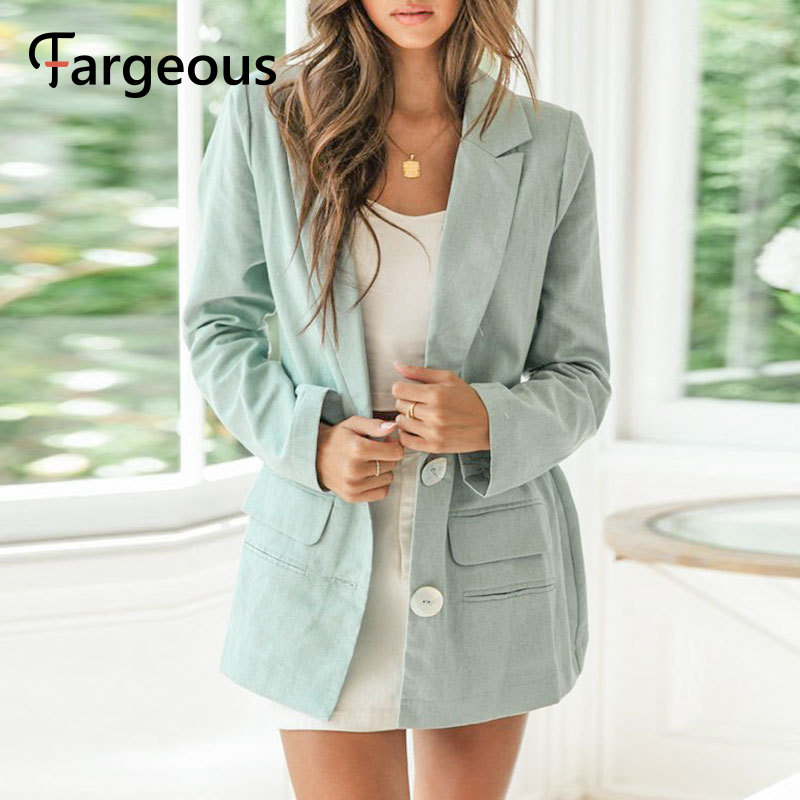 Fargeous Autumn Button Blazer Jacket Women 2019 Fashion Elegant Streetwear Blazer Button Pocket OL Blazer Female Outerwear