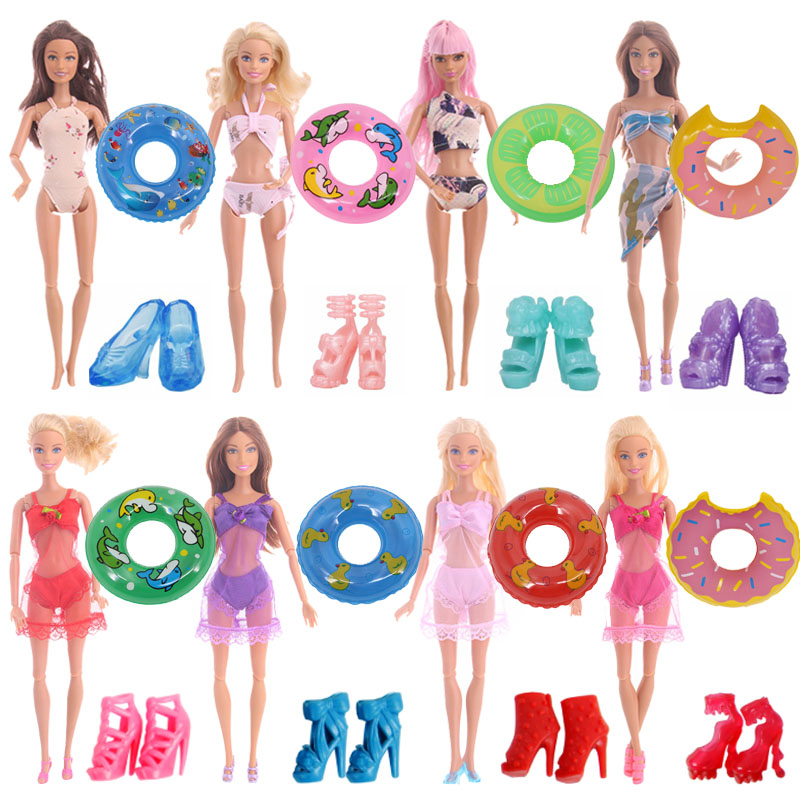 1 Set Doll Swimwear Accessories=1x Doll Bikini Swimsuit+Random 1Pairs Sandals +1x Swimming Lifebuoy For Barbiees Doll Girl`s Toy