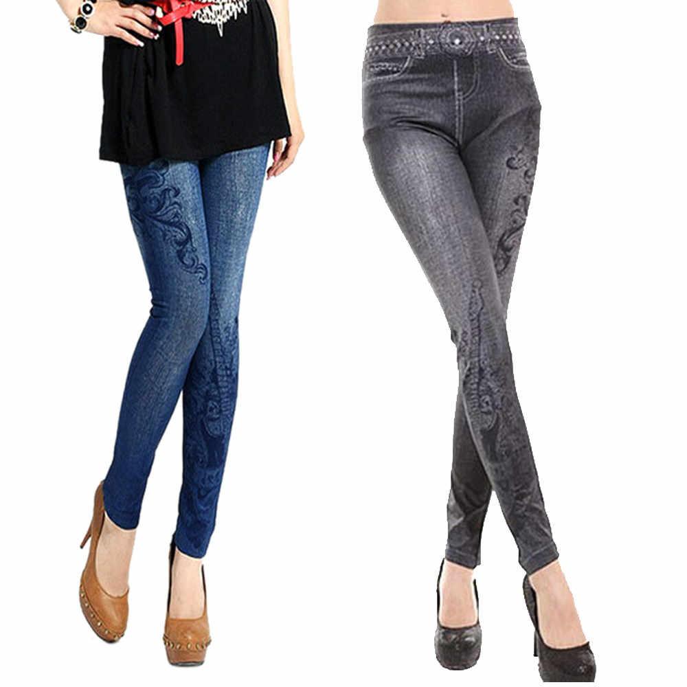 Wanita Denim Skinny Jeggings Elastis Legging Pinggang Tinggi Pencetakan Celana Pensil Modis Fashion Latihan Leginsy untuk Wanita