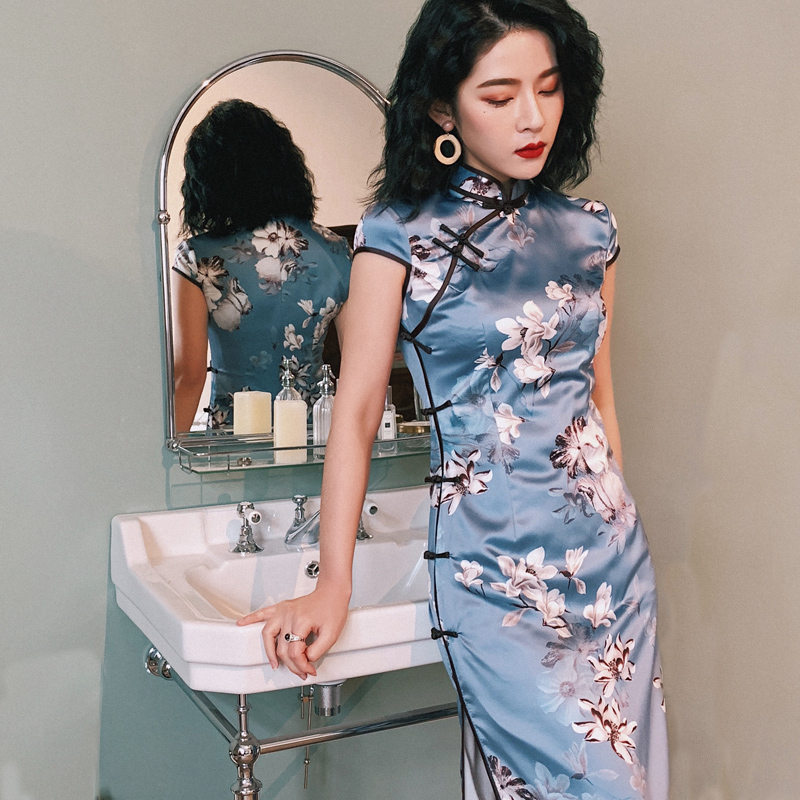 2020 Chinese Dress Cheongsam Qi Pao Lingerie Sexy Hot Erotic Underwear Women Velour Qipao Hollow Out Babydoll Party Dresses