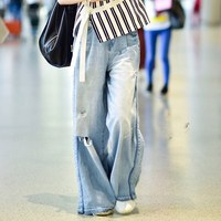 High Street Women Denim Blue Jeans Trousers Pockets Femme Pantalon High Waisted Loose Wide Leg Pants