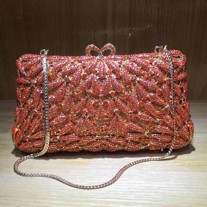Xiyuan Rode Bruids Clutch Crystal Wedding Purse Luxe Avondtassen Schouder Messenger Handtassen Hoge Kwaliteit Party Prom Bag