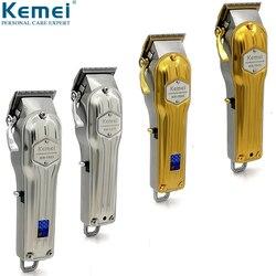 Cortadora de pelo eléctrica Kemei profesional de Metal, cortadora de pelo para hombre, máquina de corte de pelo, barbería, KM-1976, KM-1977