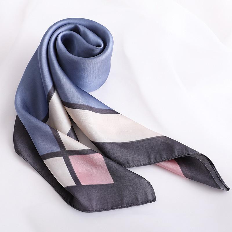 Elegant Plain Silk Satin Scarf For Women Fashion Print Kerchief Small Shawls Hair Scarfs Female 70*70cm Neck Scarves For Ladies