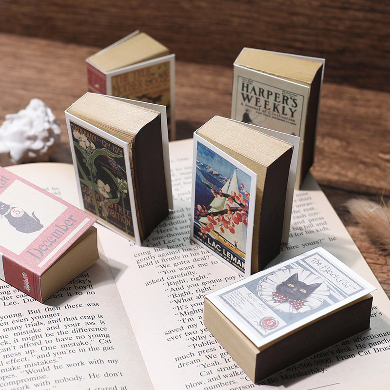 122 Sheets Mini Memo Pad Creative Matchbox Retro Notebook Can Tear Sticky Notes Kawaii Stationery Notepad Office School Supplies
