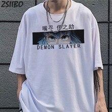Harajuku Demon Slayer męska koszulka letnia Unisex koszulka z krótkim rękawem Anime z zabawnym nadrukiem Streetwear Hashibira Inosuke t-shirty