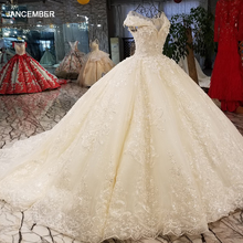 LS01266 shiny sequined wedding dress with 3d flowers o neck cap sleeves lace up back champagne formal dress quick shipping 2018