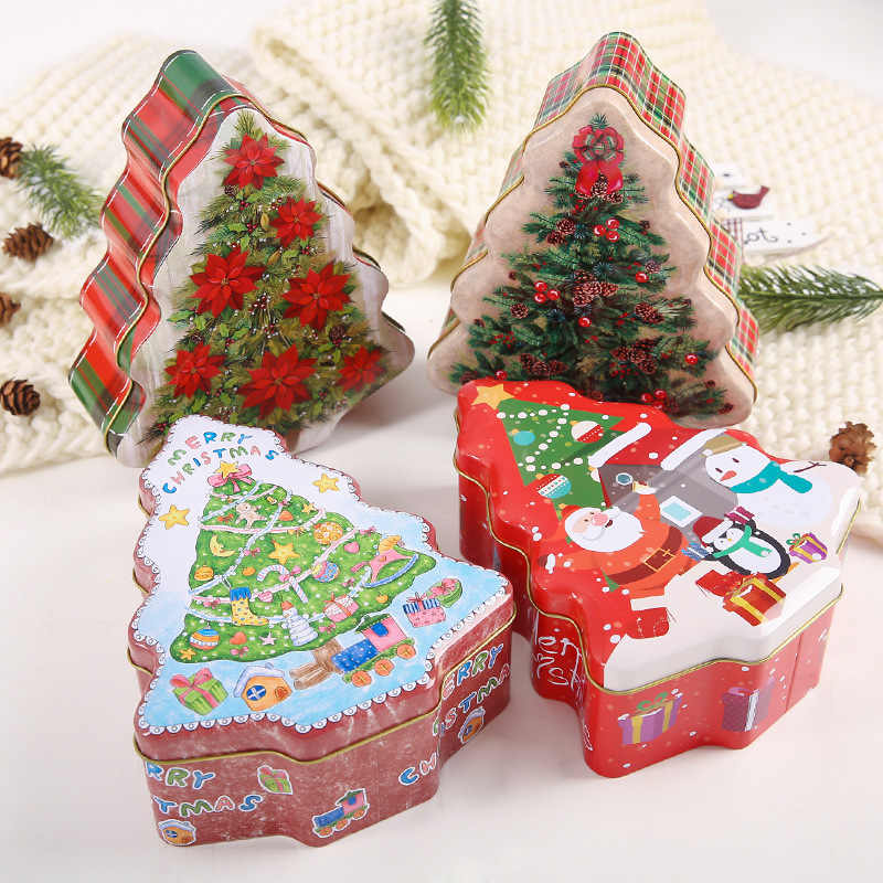 Christmas Candy Tin Box 18x15x6.5cm Christmas Decorations Candy Packing Box Gift Box Cookies Storage Box Christmas Gift for Kids