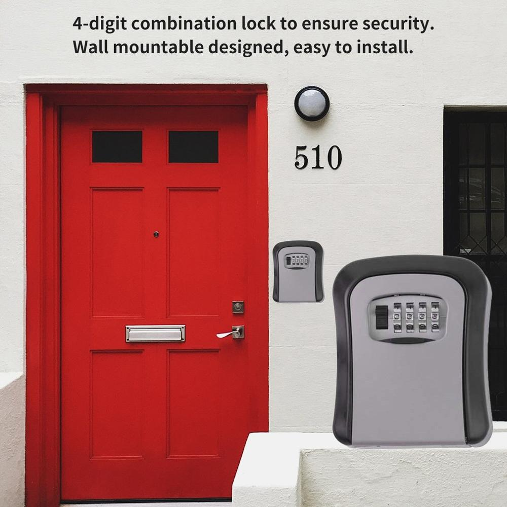 New Wall Mounted Code Keys Box Lock 4 Digit Combination Password Key Storage Organizer Box Home Security Alloy Key Box