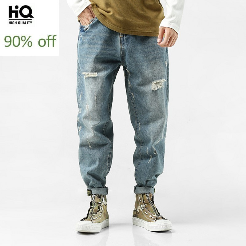 2020 New Fashion Harem Full Length Blue Pants For Mens Loose Fit Skinny Jeans Harajuku Hole Ripped Man Jean Streetwear Trousers