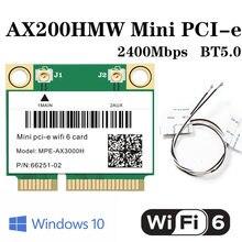 2400 Мбит/с Wi-Fi 6 Mini PCI-E карта беспроводная Wi-Fi карта для Intel AX200 2,4G/5 ГГц Bluetooth 5,0 802.11ax/ac для ноутбука антенны Win10