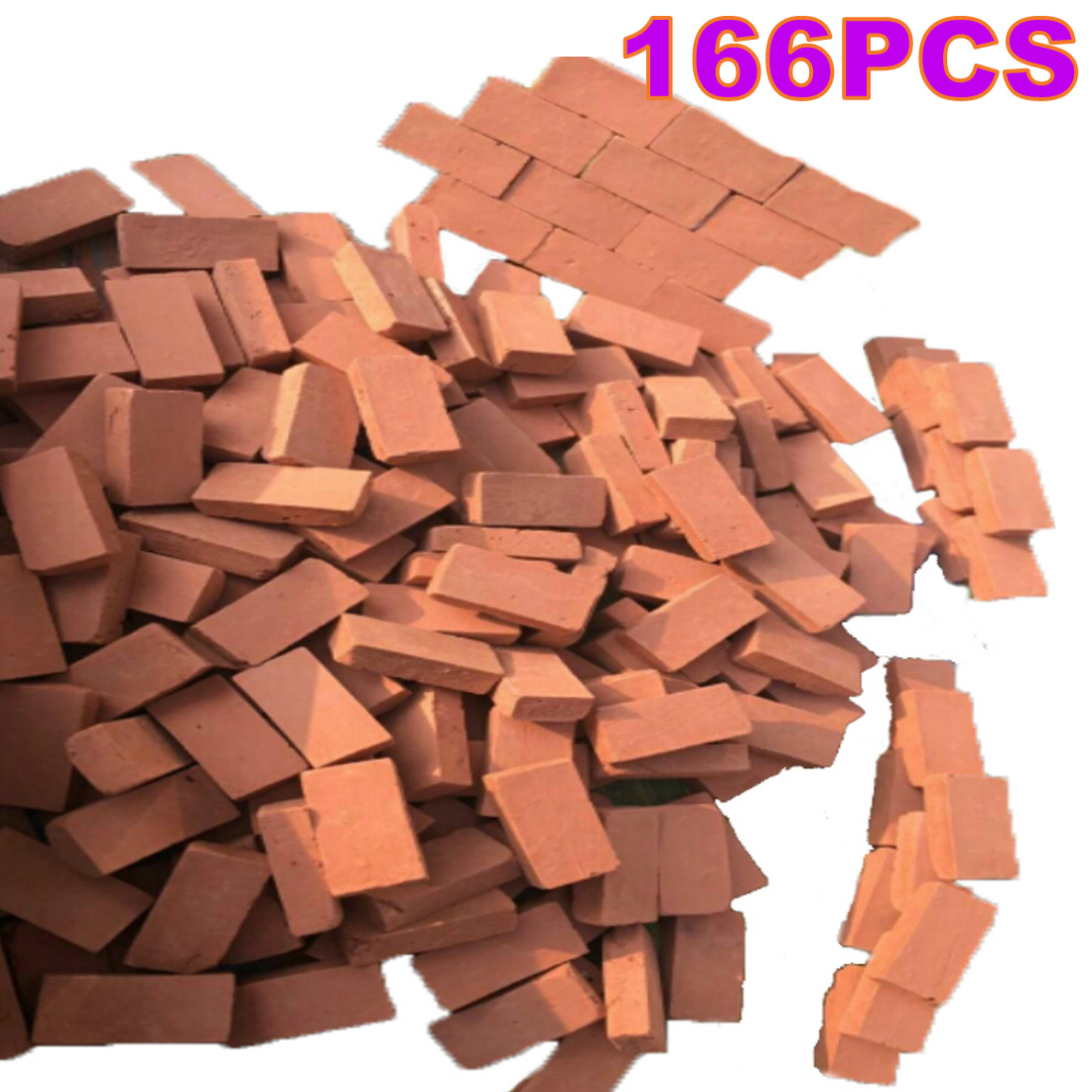166Pcs 1:16 Scale Mini Red Bricks Model Antique Micro Landscape Decorative Bricks For DIY Sand Table Building - Orange Red