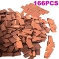 166Pcs Maßstab 1:16 Mini Red Bricks Modell Antike Micro Landschaft Dekorativen Steine Für DIY Sand Tabelle Gebäude-Orange rot
