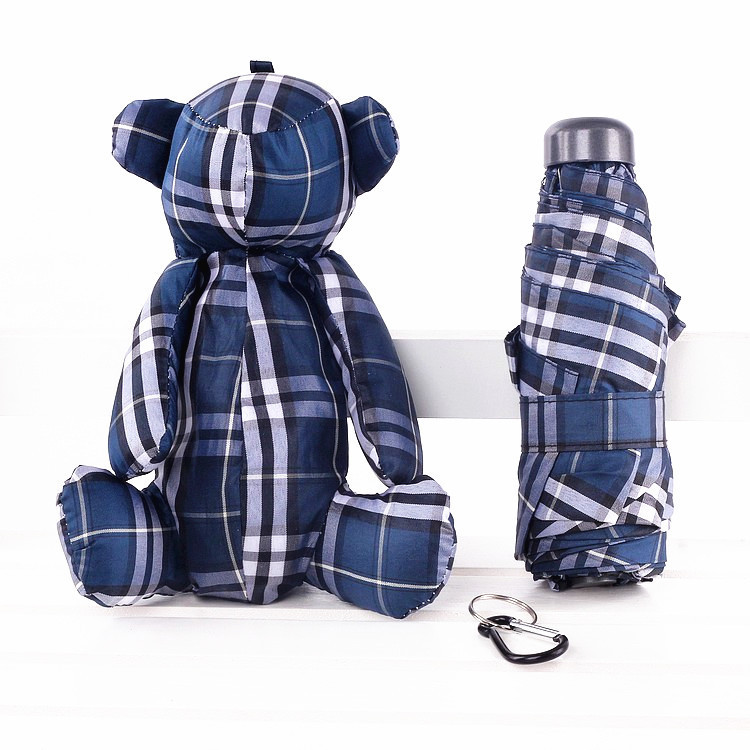 Currently Available New Style Blue Plaid Doll Bear Cartoon Ultra-Light Small Five-fold Umbrella Parasol All-Weather Umbrella