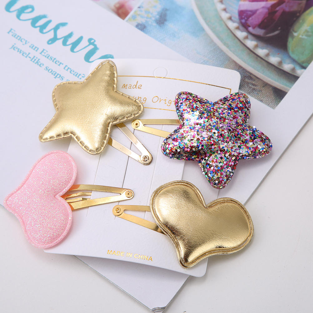 M MISM 2019 New Metal Synthetic Leather Colorful Children Hair Clips Sequins Baby Hairpins Girls For Girls Baby Hair Accessories
