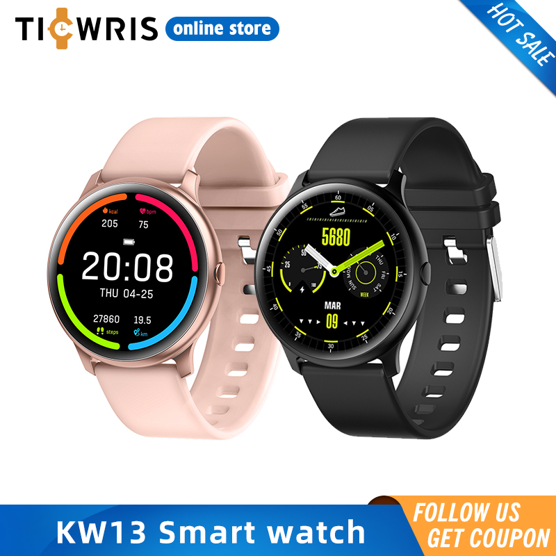 KW13 Smart Watches Men 260mAh 1.2 Inch AMOLED Android Watch Pedometer Instant Messages Women Sport Fitness Smartwatch For IOS