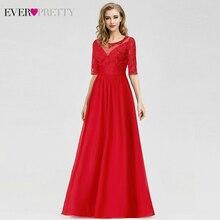 Элегантные красные вечерние платья Ever Pretty трапециевидной формы с круглым вырезом и рукавом средней длины, недорогие шифоновые вечерние платья Robe De Soiree