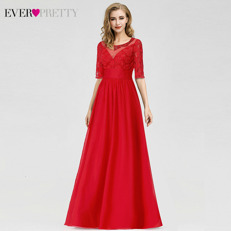Elegant Red Evening Dresses Ever Pretty A-Line O-Neck Half Sleeve Beaded Cheap Chiffon Formal Party Dresses Robe De Soiree 2020