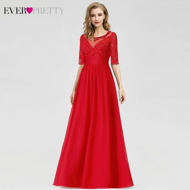 Elegant Red Evening Dresses Ever Pretty A-Line O-Neck Half Sleeve Beaded Cheap Chiffon Formal Party Dresses Robe De Soiree 2020