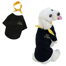 цена на Solid Pet Clothes Dog Hoodie With Floral Cotton O-neck Hoody Sweatshirts For Dog Coats Yellow Black Short Sleeve Shirt Outfit XL