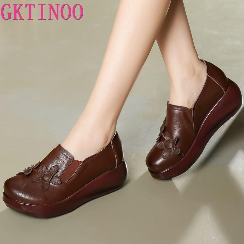 GKTINOO 2020 Spring Flowers Retro Women High Heel Shoes Wedges Comfort Casual Fashion Shoes Platform Women Genuine Leather Shoes