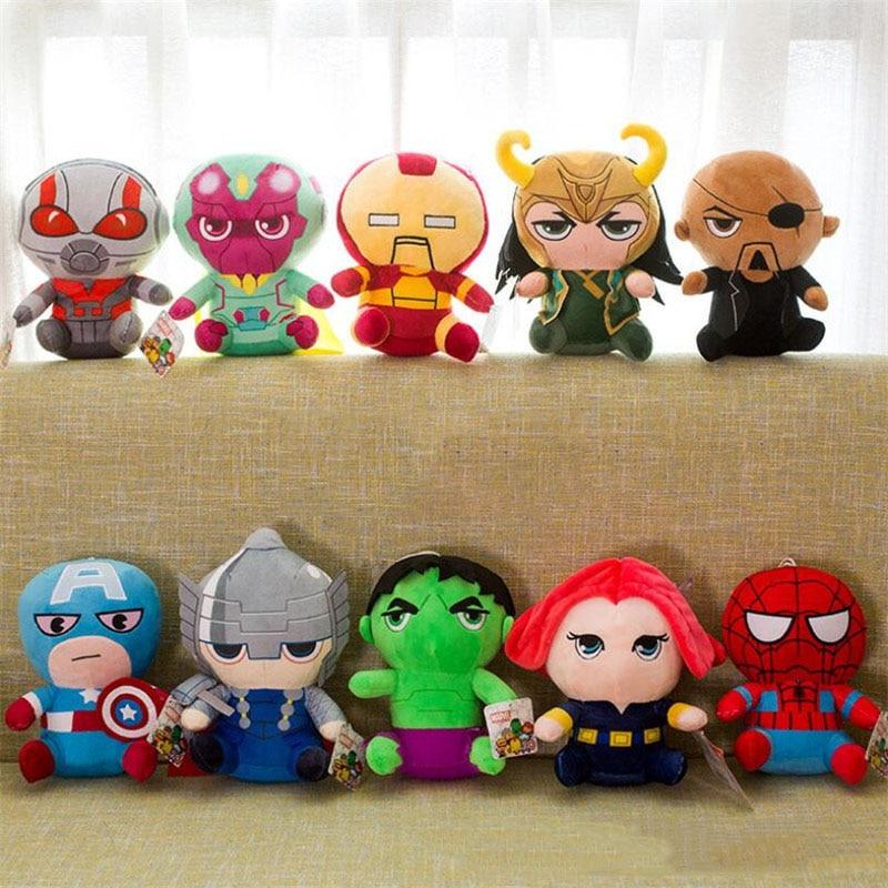 New 25cm Avengers 4 Marvel Superhero Plush Toy Iron Man Spider Man Loki Thor Captain America Plush Soft Dolls Toys