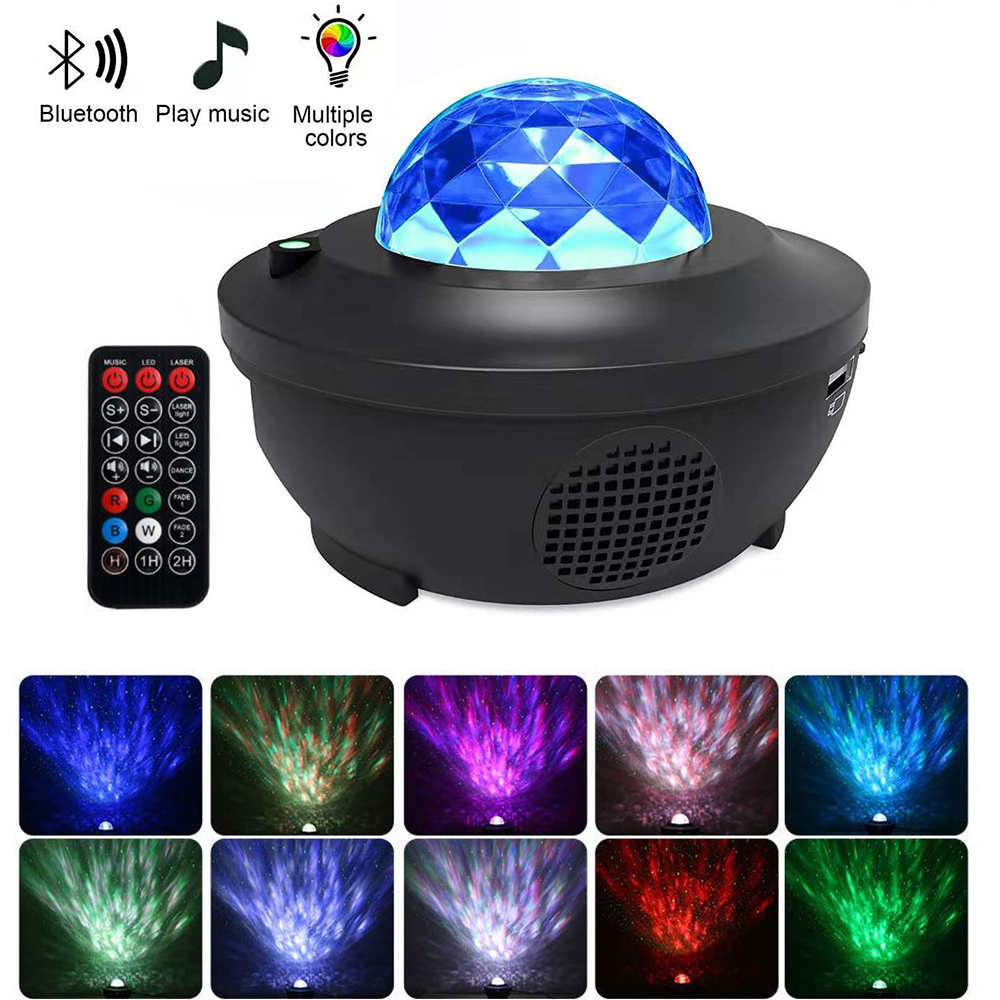Romantic Ocean Wave Projector Night Light Adjustable Lightness Star Sea Projector Lamp With Bluetooth Music Speaker For Baby Kid